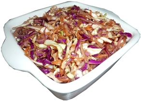 coleslaw mix dressed with soy sauce, ginger, sesame asian style flavours
